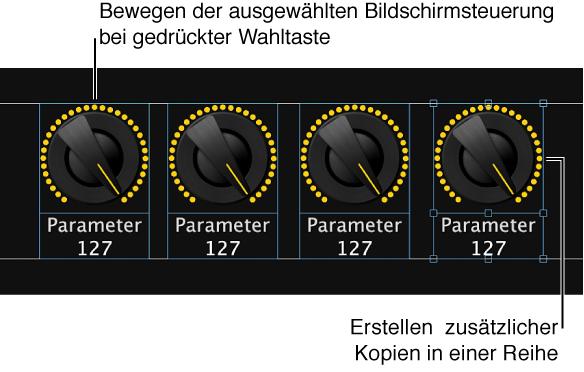 """Abbildung. Bewegen einer Bildschirmsteuerung bei gedrückter Wahltaste und anschließende Auswahl von """"Bearbeiten"""" > """"Duplizieren"""" zum Erstellen zusätzlicher Kopien in einer Reihe oder Spalte"""