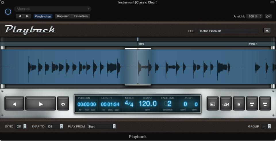 Abbildung. Playback-Plug-In mit Wellenform einer Audiodatei
