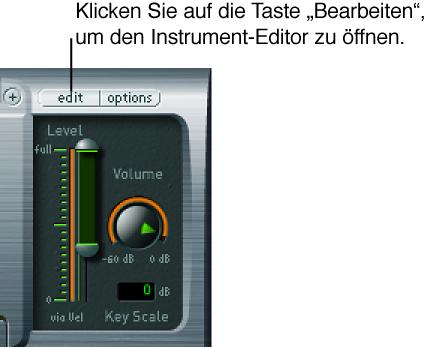 """Abbildung. Fenster des EXS24-Plug-Ins mit Taste """"Bearbeiten"""""""