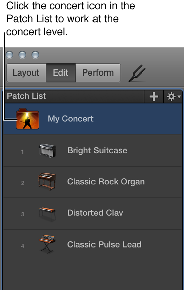 Figure. Selecting the concert icon in the Patch List.