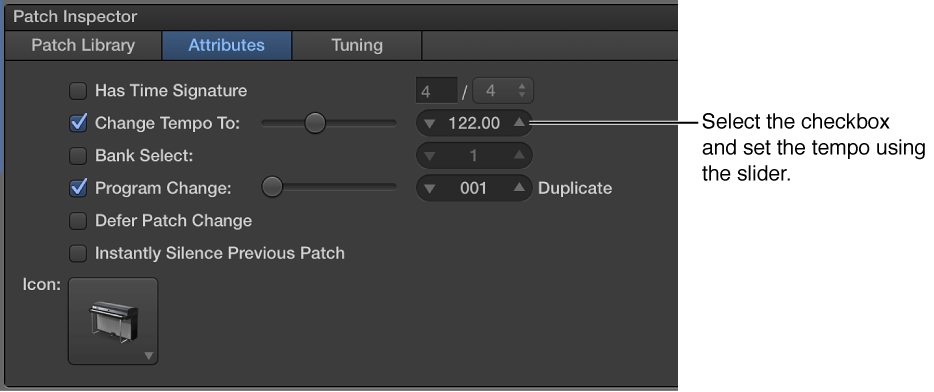 Figure. Dragging the Tempo slider in the Patch Inspector.