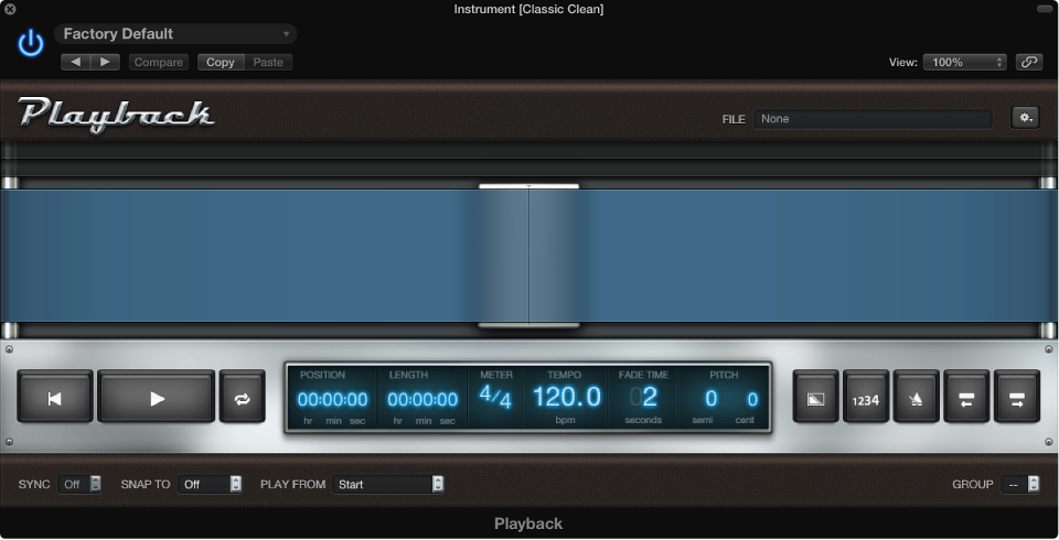 Figure. The Playback plug-in window.