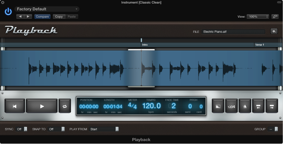 Figure. Playback plug-in showing waveform of audio file.