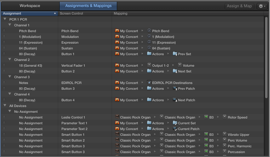 Assignments and Mappings tab