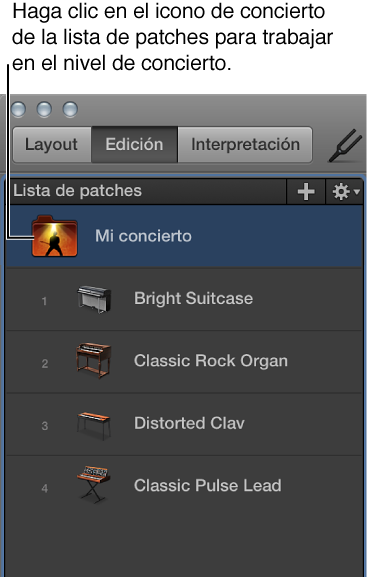 Ilustración. Selección del icono de concierto en la lista de patches.