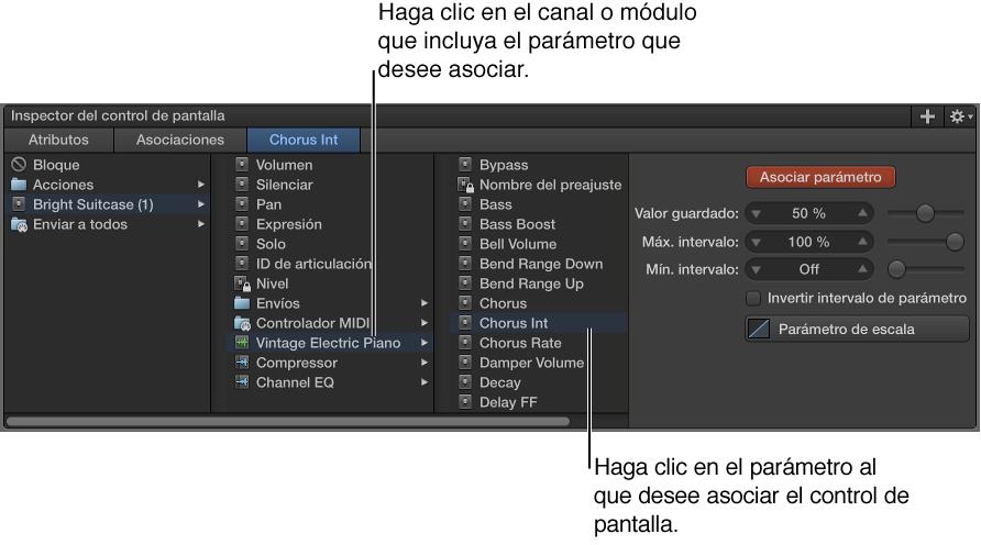 Ilustración. Asociación de un control de pantalla mediante el explorador de asociación de parámetros.
