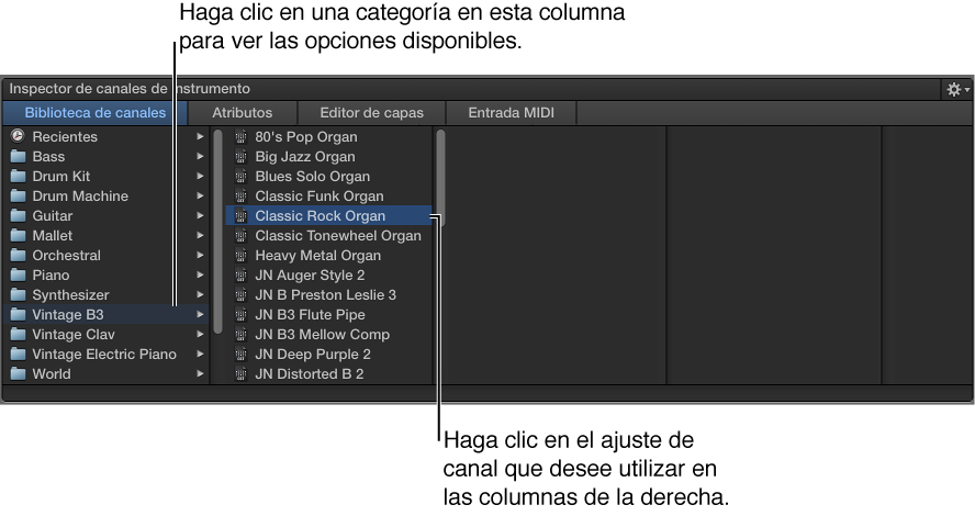 Ilustración. Biblioteca de canales con ajuste de canal seleccionado.