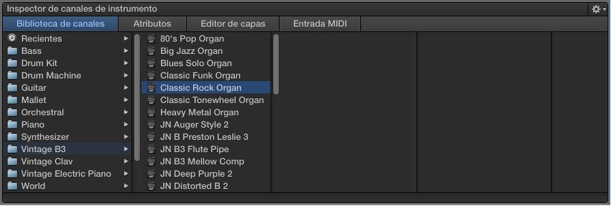 Ilustración. La biblioteca de canales con un ajuste de canal seleccionado.