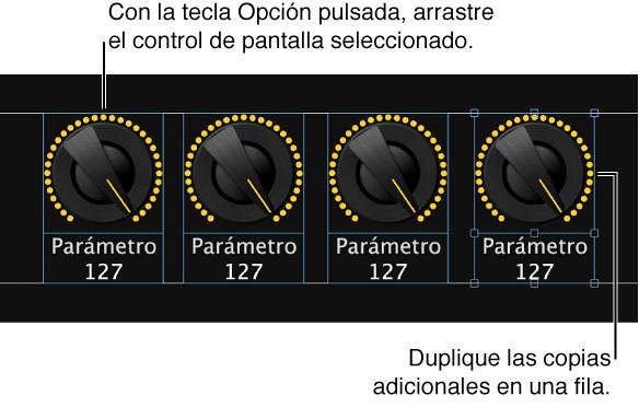 Ilustración. Arrastre un control de pantalla con la tecla Opción pulsada y, a continuación, duplique las copias adicionales para crear una fila o columna.