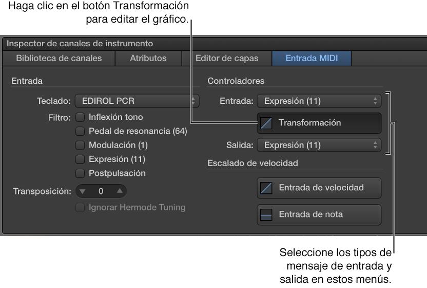 Ilustración. Selección de tipos de mensaje de entrada y salida en el Inspector de la banda de canal.
