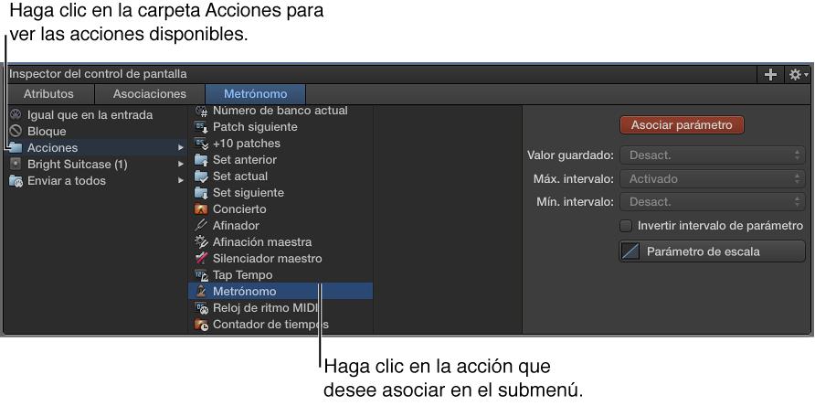 Ilustración. Asignación de un control de pantalla a una acción en la carpeta Acciones.