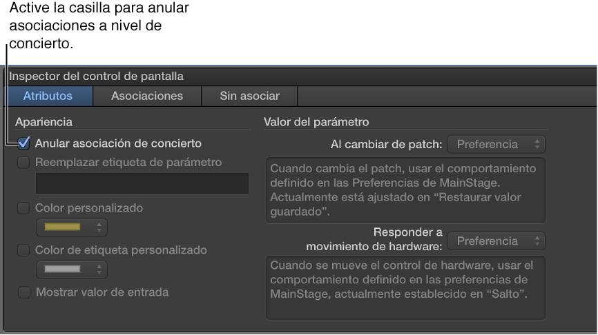 """Ilustración. Seleccione la opción """"Anular asociación de concierto""""."""