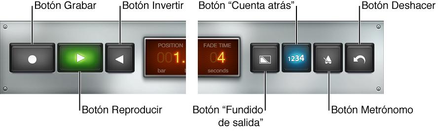 Ilustración. Controles de transporte y función de Bucle.