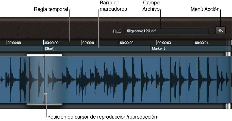 Ilustración. Visualización de onda, con el campo Archivo, la regla y el cursor de reproducción.
