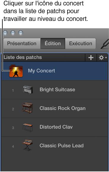 Figure. Sélection de l'icône de concert dans la liste des patchs.