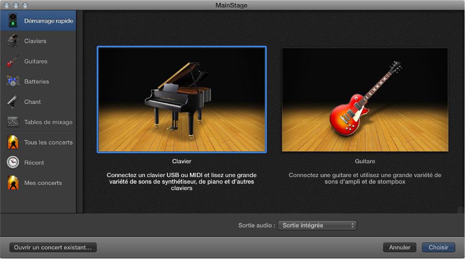 Figure. Choisissez un modèle de concert dans la zone de dialogue Sélectionner le modèle.