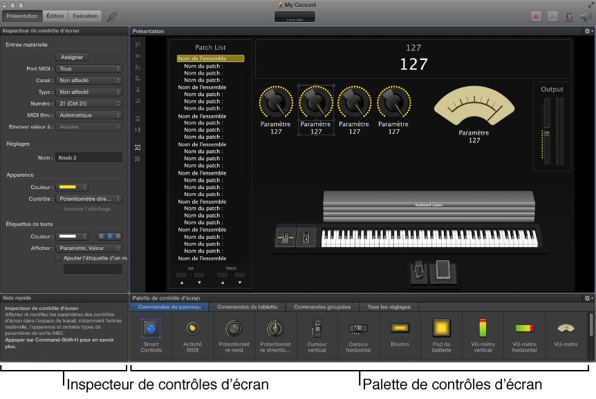 Mode Présentation avec inspecteur de contrôles d'écran et palette de contrôles d'écran.