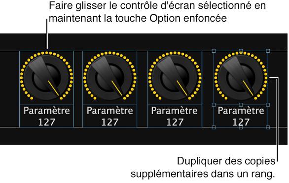 Figure. Faites glisser un contrôle d'écran en maintenant la touche Option enfoncée, puis dupliquez des copies supplémentaires pour créer une rangée ou une colonne.