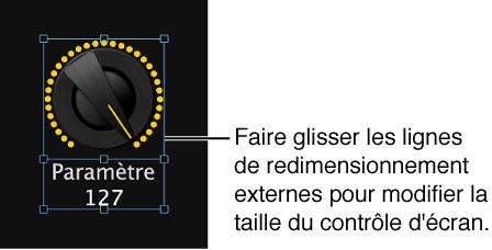 Figure. Faites glisser le guide de redimensionnement extérieur pour redimensionner le contrôle d'écran.