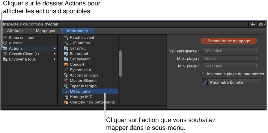 Figure. Mappage d'un contrôle d'écran avec une action dans le dossier Actions.
