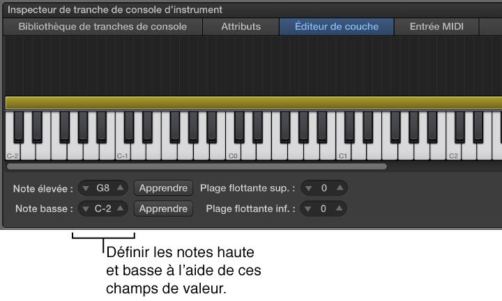 Figure. Définition de la plage de notes d'une tranche de console à l'aide des curseurs de valeur Note basse et Note élevée.