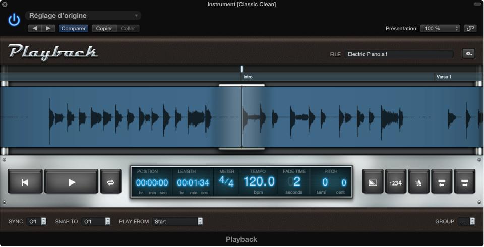 Figure. Module Lecture avec forme d'onde de fichier audio.