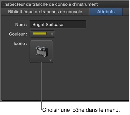 Figure. Inspecteur de tranche de console avec menu Icône.