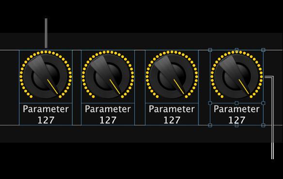 図。 Option キーを押しながらスクリーンコントロールをドラッグし、横または縦一列にコピーを追加する。