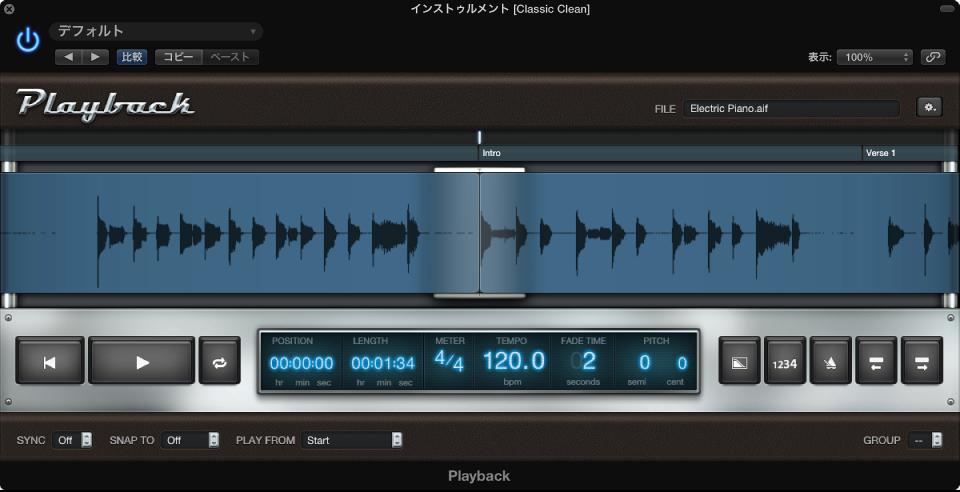 図。 オーディオファイルの波形が表示された Playback プラグイン。