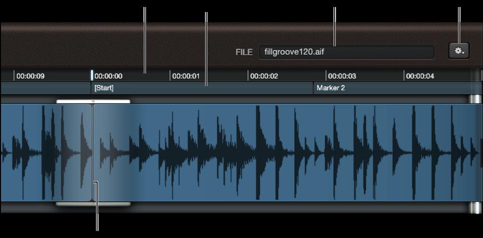 図。 波形ディスプレイ。「FILE」フィールド、ルーラ、再生ヘッドが表示されている。
