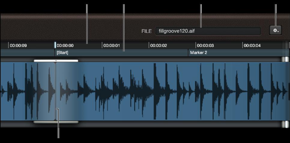 图。 波形显示,显示文件栏、标尺和播放头。
