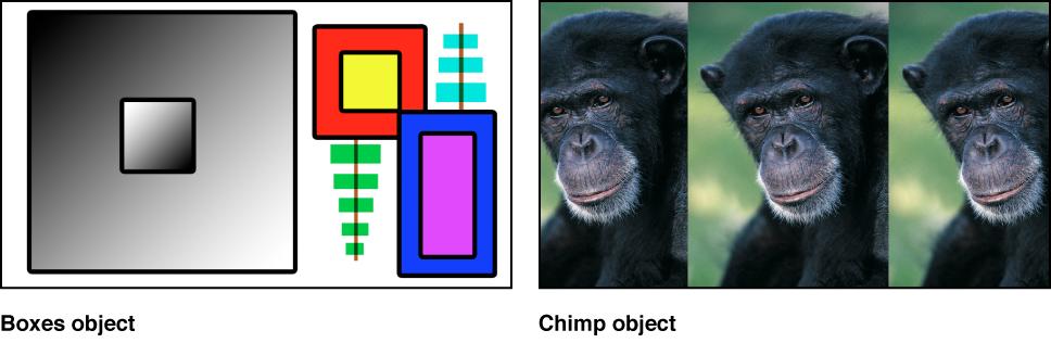 Zwei Quellenbilder: Eine Sammlung von Farbfeldern und ein Foto eines Affen.