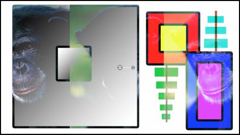 """Canvas mit Kombination aus Farbfeldern und dem Affen unter Verwendung der Füllmethode """"Aufhellen"""""""
