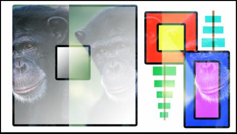 """Canvas mit Kombination aus Farbfeldern und dem Affen unter Verwendung der Füllmethode """"Überblenden"""""""