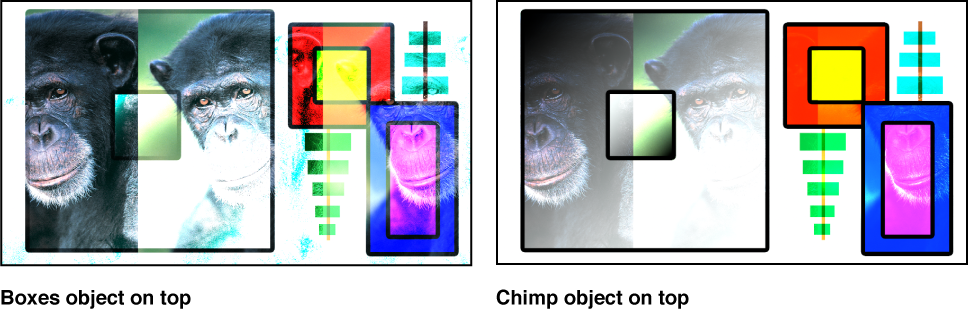 """Canvas mit Kombination aus Farbfeldern und dem Affen unter Verwendung der Füllmethode """"Farbig abwedeln"""""""