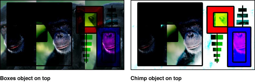 """Canvas mit Kombination aus Farbfeldern und dem Affen unter Verwendung der Füllmethode """"Farbig nachbelichten"""""""