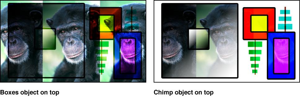 """Canvas mit Kombination aus Farbfeldern und dem Affen unter Verwendung der Füllmethode """"Überlagern"""""""