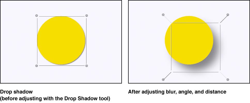 Canvas, der ein Objekt zeigt, bevor sein Schattenwurf angepasst wurde, und der das Objekt zeigt, während sein Schattenwurf bearbeitet wird.