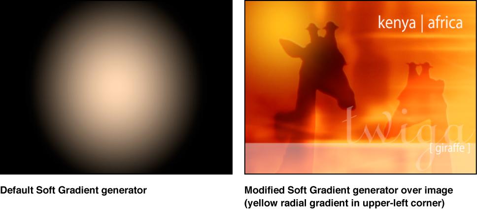 """Abbildung. Canvas-Fenster mit dem Generator """"Weicher Verlauf"""" ohne und in Kombination mit einem anderen Bild."""
