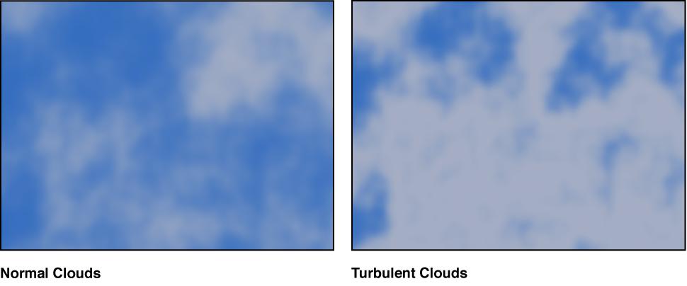 """Canvas mit dem Generator """"Wolken"""" und verschiedenen Einstellungen"""