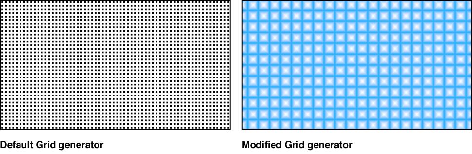 """Canvas mit dem Generator """"Gitter"""" und verschiedenen Einstellungen"""