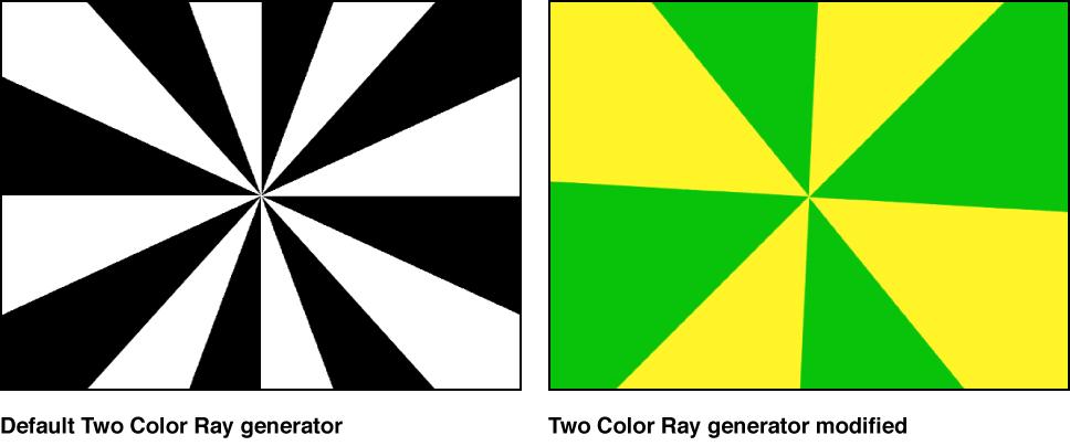 """Canvas mit dem Generator """"Zweifarbiger Strahl"""" und verschiedenen Einstellungen"""