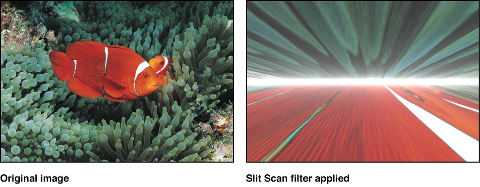 """Canvas mit dem Effekt des Filters """"Slit-Scan"""""""