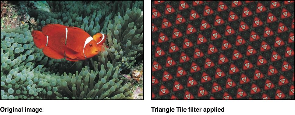 "Canvas mit dem Effekt des Filters ""Dreieckige Kacheln"""