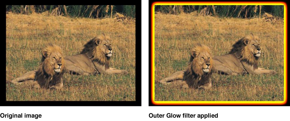 """Canvas mit dem Effekt des Filters """"Äußeres Glühen"""""""
