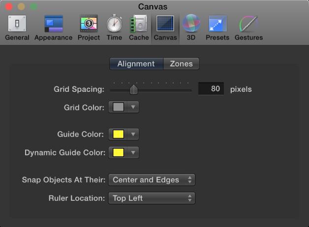 """Fenster mit den Motion-Einstellungen mit eingeblendetem Bereich """"Canvas"""" und der Kategorie """"Ausrichtung""""."""