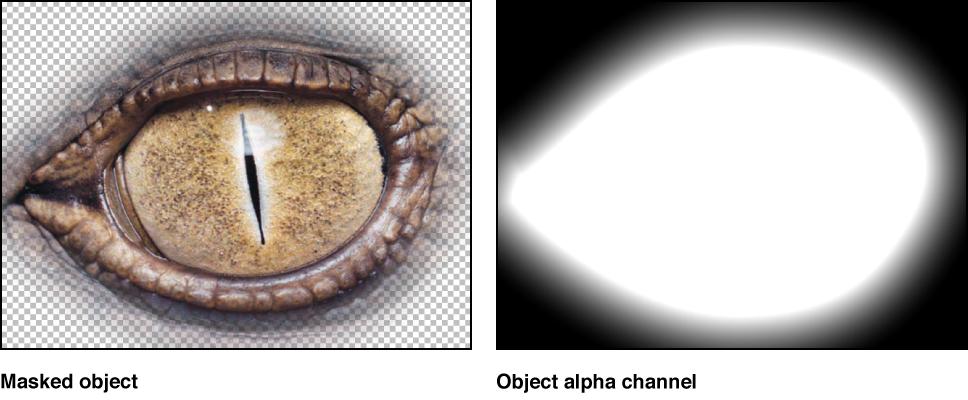 Canvas mit einem maskierten Objekt und dem zugehörigen Alpha-Kanal.