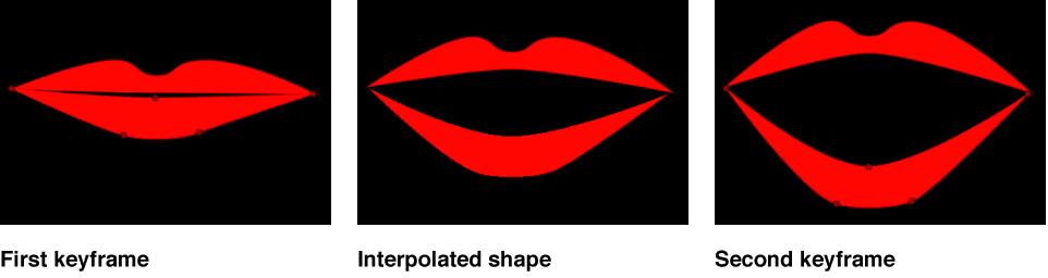 Canvas mit einer Form, die zwischen zwei Keyframes interpoliert wurde.