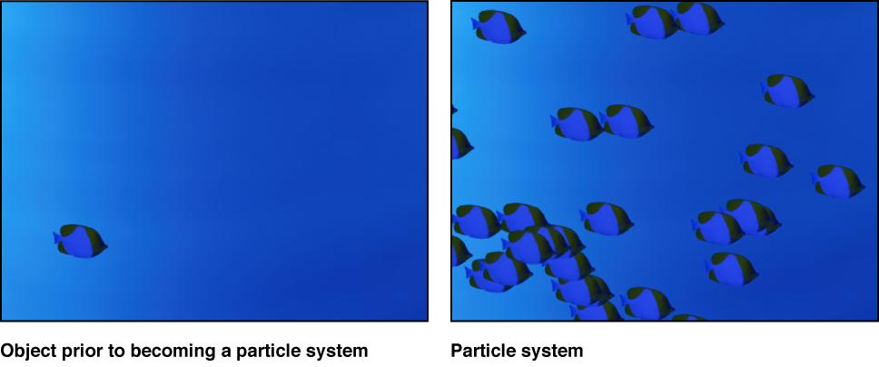 Canvas mit einem einzigen Objekt und mit diesem Objekt als Emitter in einem Partikelsystem.