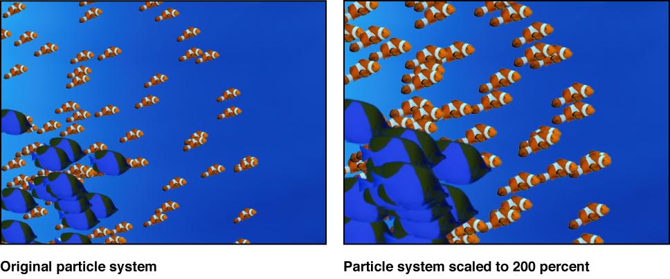 Canvas mit einem Partikelsystem mit zwei Zellen, jeweils relativ zur Originalgröße skaliert.